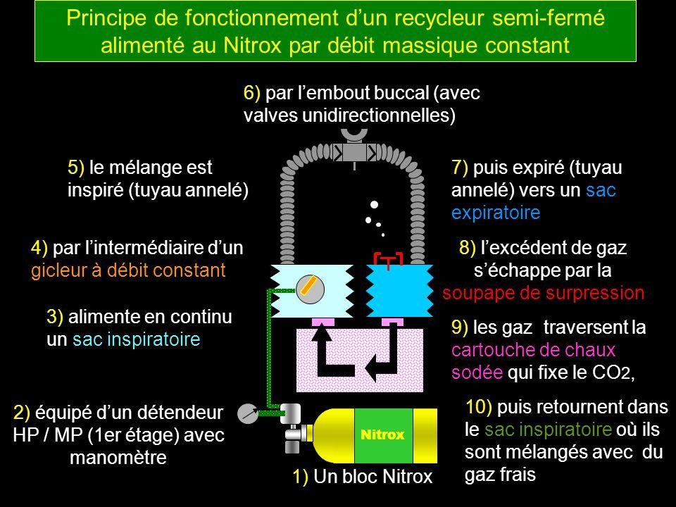 Nitrox 1) Un bloc Nitrox 2) équipé dun détendeur HP / MP (1er étage) avec manomètre 3) alimente en continu un sac inspiratoire 4) par lintermédiaire d