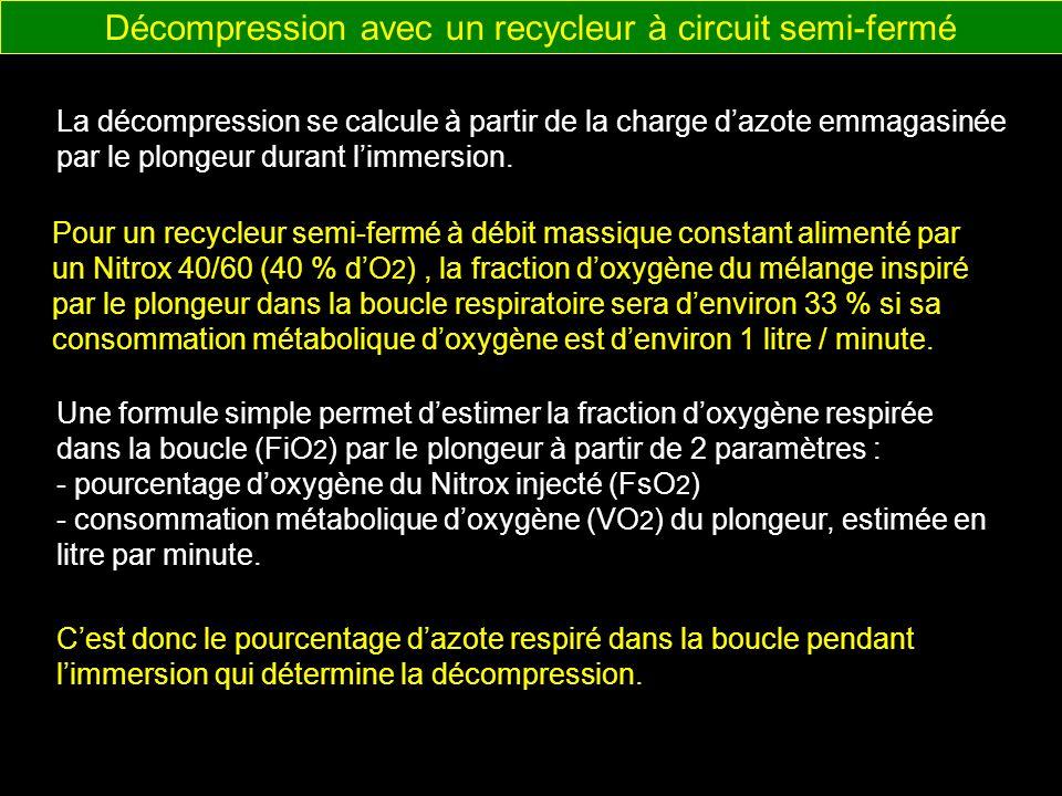 Lautonomie dun appareil à recyclage de gaz dépend de 2 paramètres : Autonomie avec un recycleur à circuit semi-fermé - Le volume de mélange respiratoire emmené par le plongeur, - La capacité de filtration (durée) de labsorbant de CO 2 (chaux sodée).