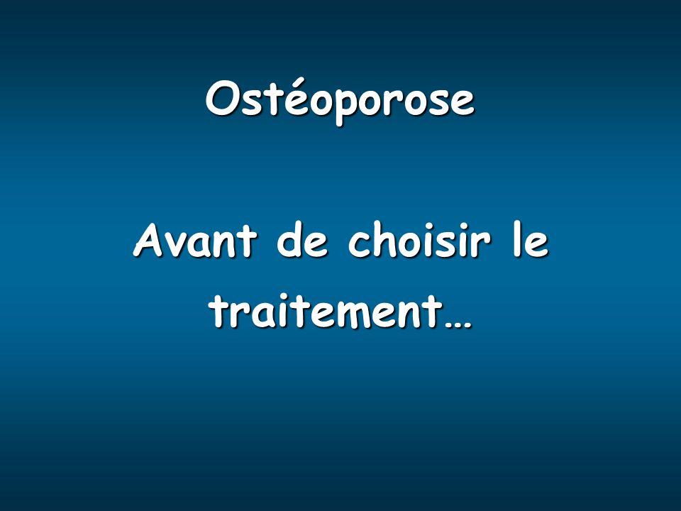 Ostéoporose Avant de choisir le traitement…