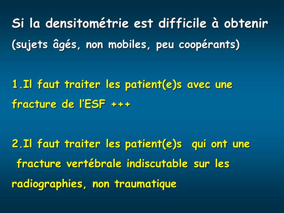 Si la densitométrie est difficile à obtenir (sujets âgés, non mobiles, peu coopérants) 1.Il faut traiter les patient(e)s avec une fracture de lESF +++