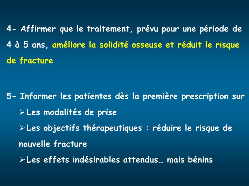 4- Affirmer que le traitement, prévu pour une période de 4 à 5 ans, améliore la solidité osseuse et réduit le risque de fracture 5- Informer les patie