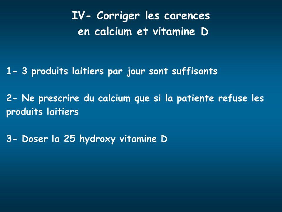 IV- Corriger les carences en calcium et vitamine D 1- 3 produits laitiers par jour sont suffisants 2- Ne prescrire du calcium que si la patiente refus