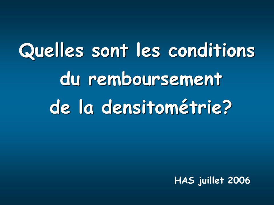 Quelles sont les conditions du remboursement du remboursement de la densitométrie? de la densitométrie? HAS juillet 2006