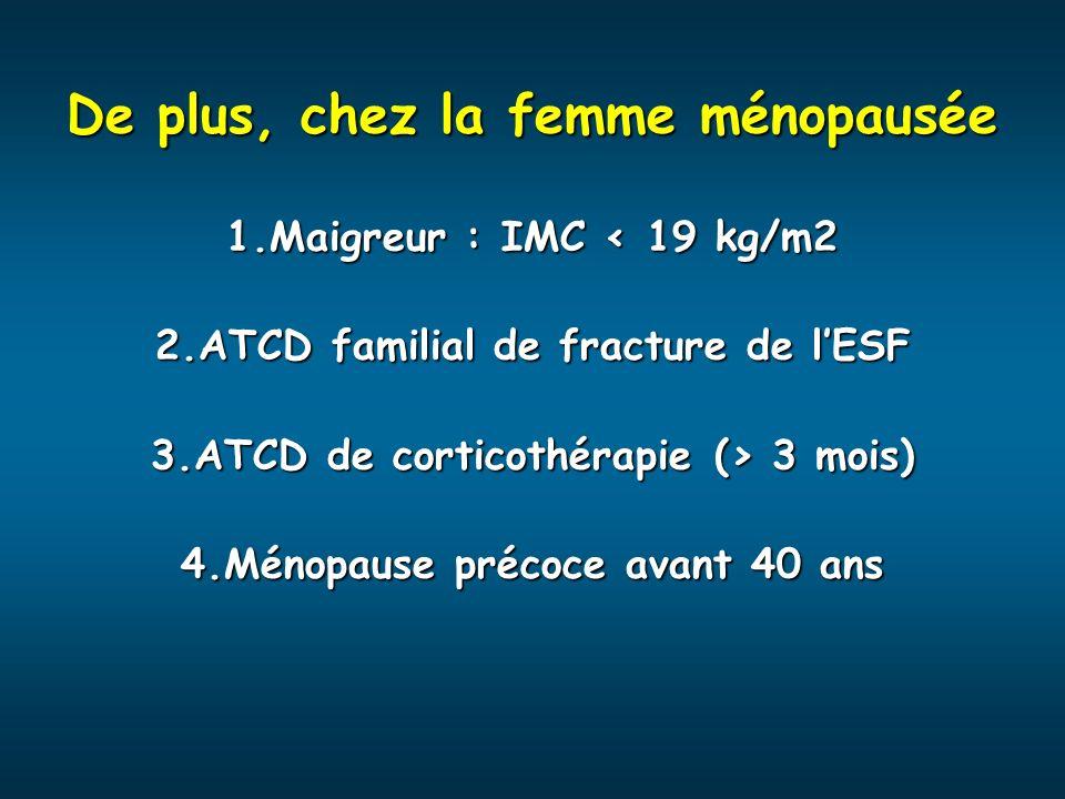 De plus, chez la femme ménopausée 1.Maigreur : IMC < 19 kg/m2 2.ATCD familial de fracture de lESF 3.ATCD de corticothérapie (> 3 mois) 4.Ménopause pré