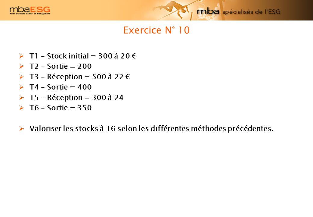 Exercice N° 10 T1 – Stock initial = 300 à 20 T2 – Sortie = 200 T3 – Réception = 500 à 22 T4 – Sortie = 400 T5 – Réception = 300 à 24 T6 – Sortie = 350 Valoriser les stocks à T6 selon les différentes méthodes précédentes.