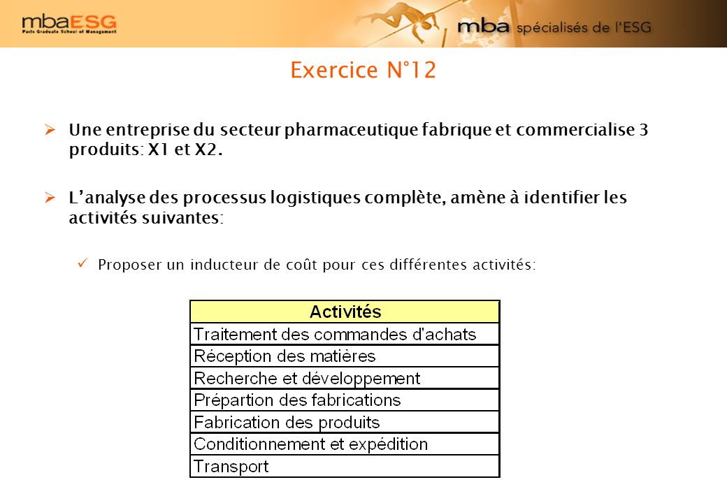 Exercice N°12 Une entreprise du secteur pharmaceutique fabrique et commercialise 3 produits: X1 et X2. Lanalyse des processus logistiques complète, am