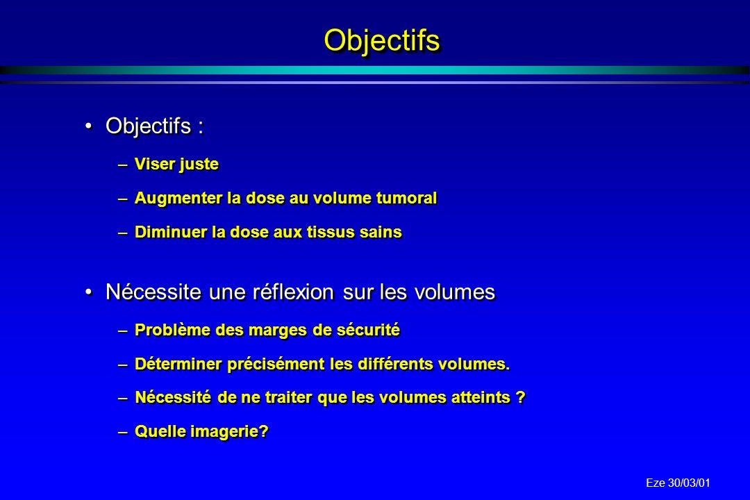 Eze 30/03/01 ActuellementActuellement Relation dose / réponse tumorale. Relation contrôle local / survie. Relation dose / survie pour certaines tumeur