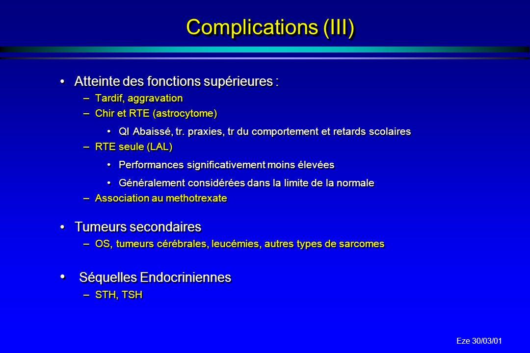 Eze 30/03/01 Complications (II) La radionécrose cérébrale –5 % vers 55 Gy et 20 % à 65 Gy (chez l enfant) –Atteinte de la microcirculation et oligoden