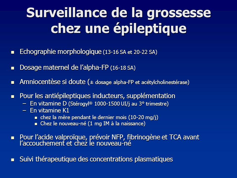 Surveillance de la grossesse chez une épileptique Echographie morphologique (13-16 SA et 20-22 SA) Echographie morphologique (13-16 SA et 20-22 SA) Do
