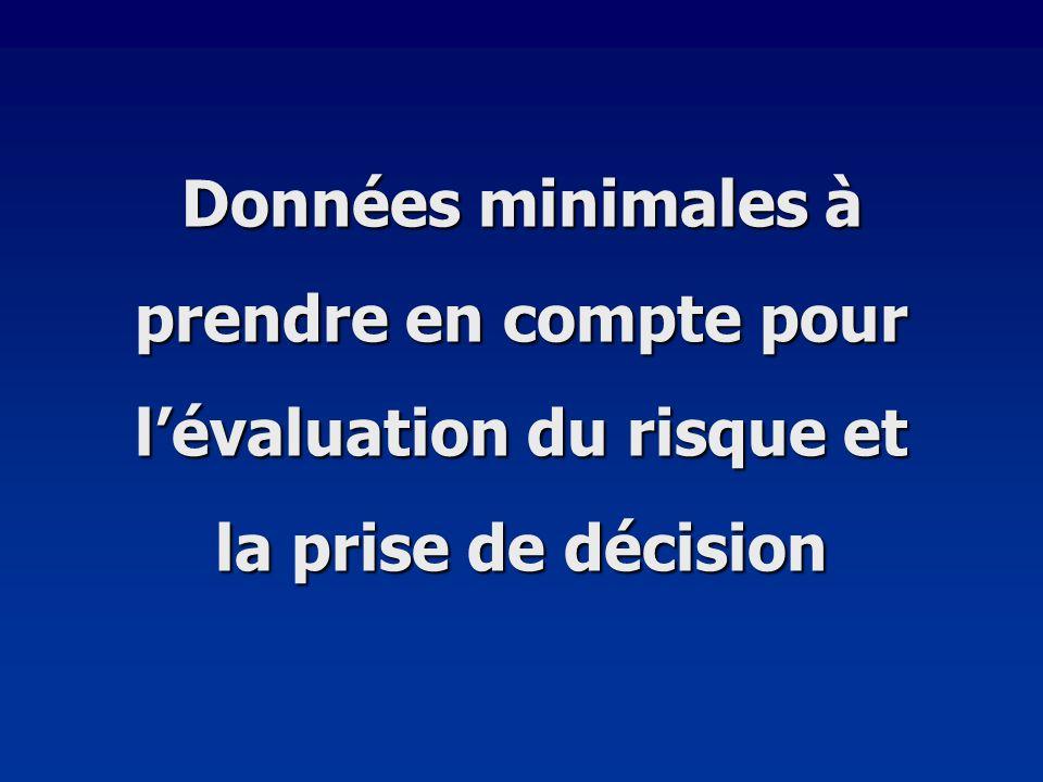 Données minimales à prendre en compte pour lévaluation du risque et la prise de décision