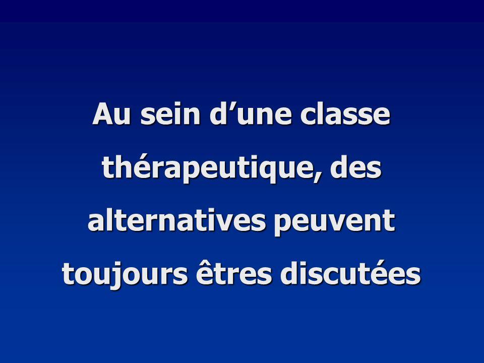 Au sein dune classe thérapeutique, des alternatives peuvent toujours êtres discutées