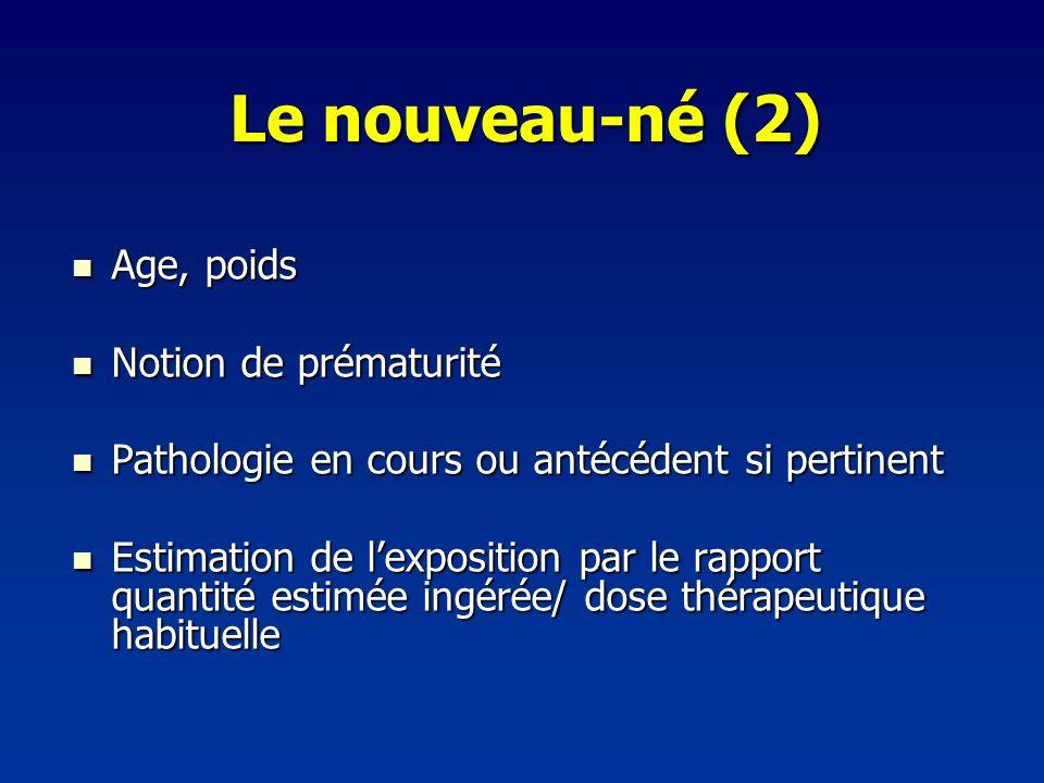 Le nouveau-né (2) Age, poids Age, poids Notion de prématurité Notion de prématurité Pathologie en cours ou antécédent si pertinent Pathologie en cours