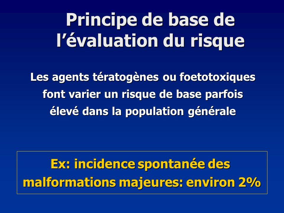 Principe de base de lévaluation du risque Les agents tératogènes ou foetotoxiques font varier un risque de base parfois élevé dans la population génér
