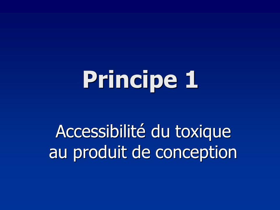 Principe 1 Accessibilité du toxique au produit de conception