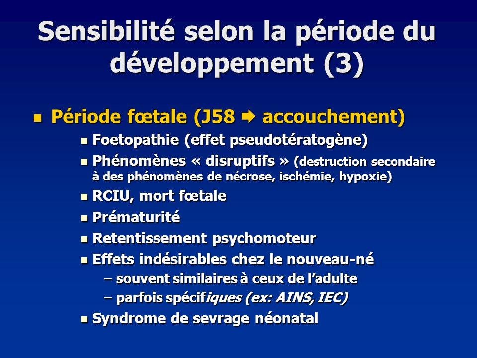 Sensibilité selon la période du développement (3) Période fœtale (J58 accouchement) Période fœtale (J58 accouchement) Foetopathie (effet pseudotératog
