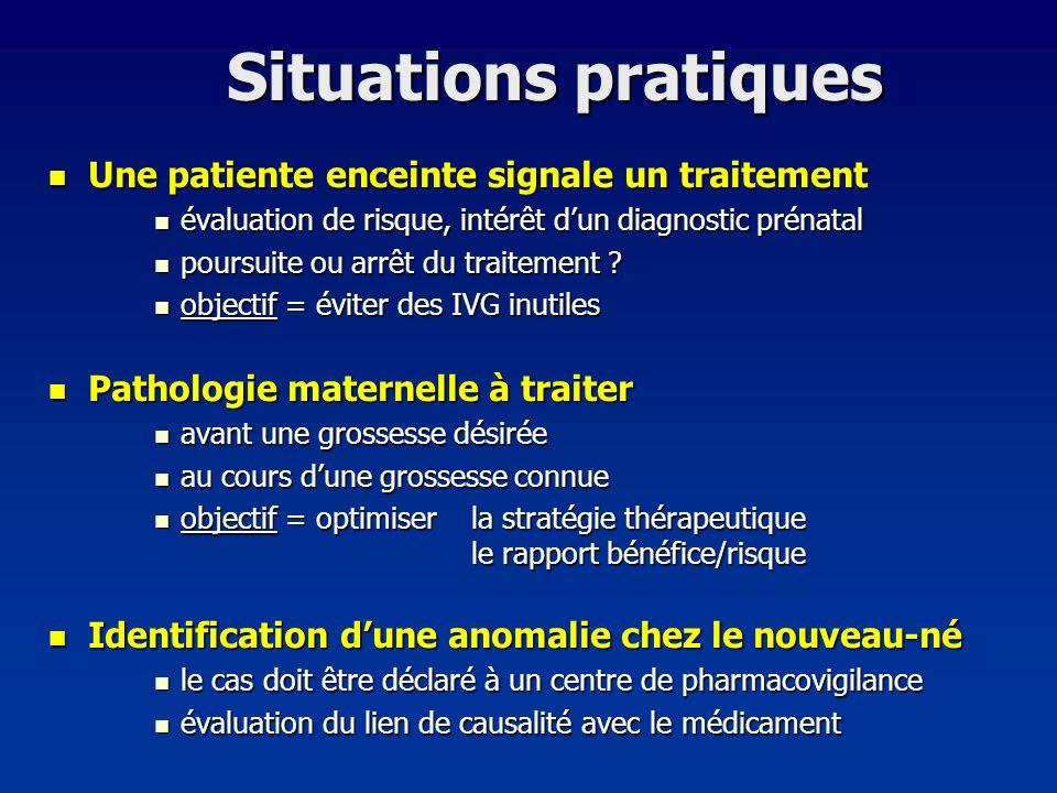 Situations pratiques Une patiente enceinte signale un traitement Une patiente enceinte signale un traitement évaluation de risque, intérêt dun diagnos