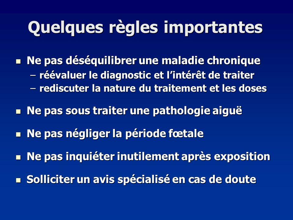 Quelques règles importantes Ne pas déséquilibrer une maladie chronique Ne pas déséquilibrer une maladie chronique –réévaluer le diagnostic et lintérêt