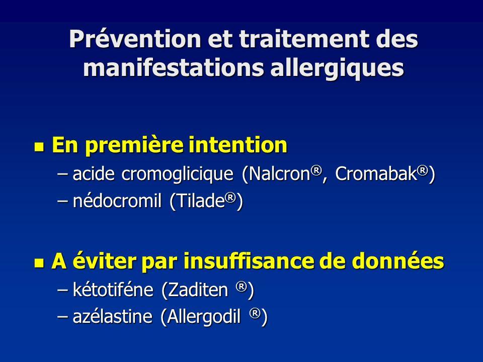 Prévention et traitement des manifestations allergiques En première intention En première intention –acide cromoglicique (Nalcron ®, Cromabak ® ) –néd