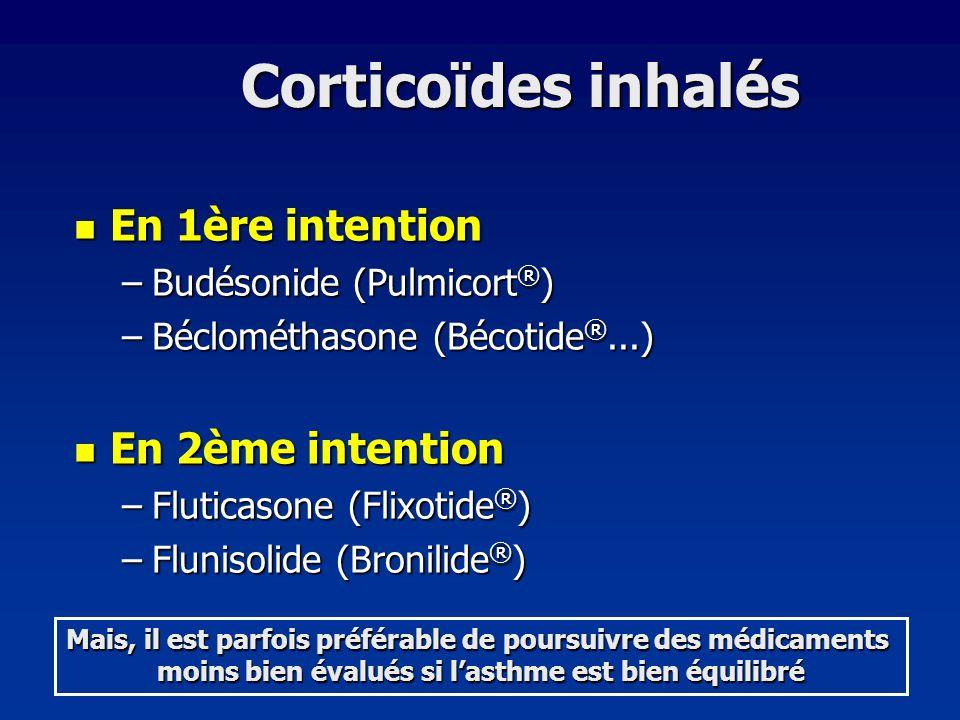 Corticoïdes inhalés En 1ère intention En 1ère intention –Budésonide (Pulmicort ® ) –Béclométhasone (Bécotide ®...) En 2ème intention En 2ème intention