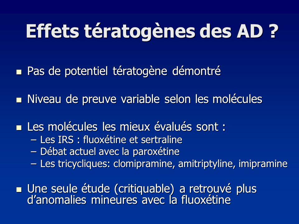 Effets tératogènes des AD ? Pas de potentiel tératogène démontré Pas de potentiel tératogène démontré Niveau de preuve variable selon les molécules Ni