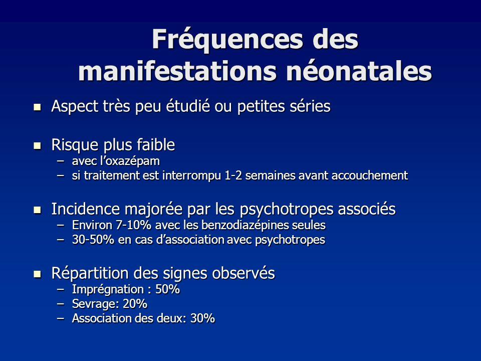 Fréquences des manifestations néonatales Aspect très peu étudié ou petites séries Aspect très peu étudié ou petites séries Risque plus faible Risque p