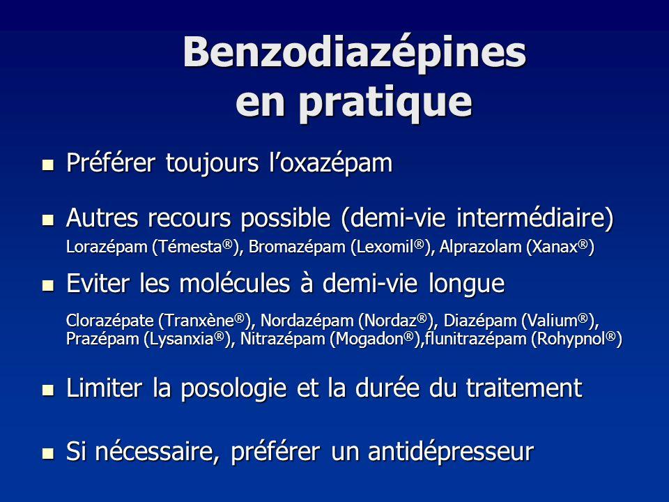 Benzodiazépines en pratique Préférer toujours loxazépam Préférer toujours loxazépam Autres recours possible (demi-vie intermédiaire) Autres recours po