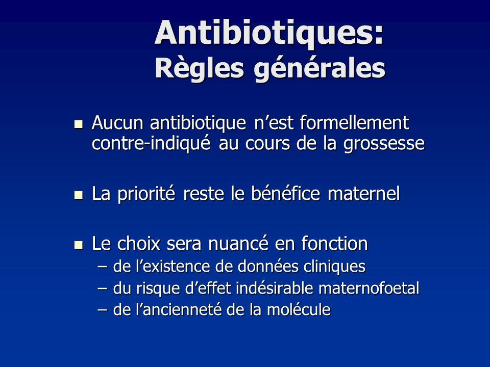 Antibiotiques: Règles générales Aucun antibiotique nest formellement contre-indiqué au cours de la grossesse Aucun antibiotique nest formellement cont