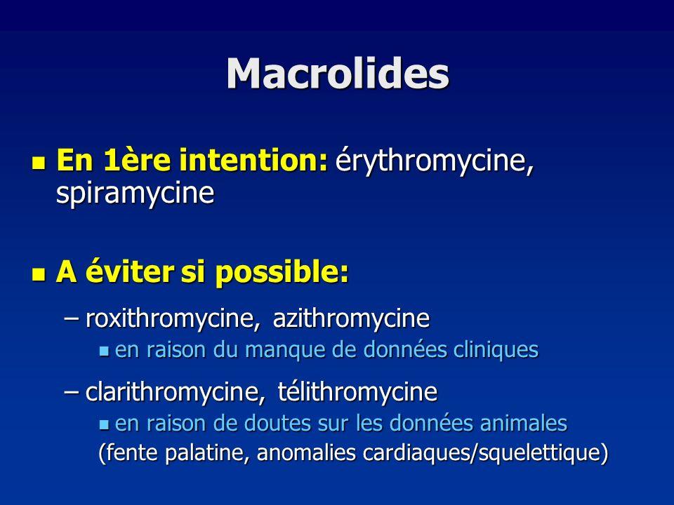Macrolides En 1ère intention: érythromycine, spiramycine En 1ère intention: érythromycine, spiramycine A éviter si possible: A éviter si possible: –ro
