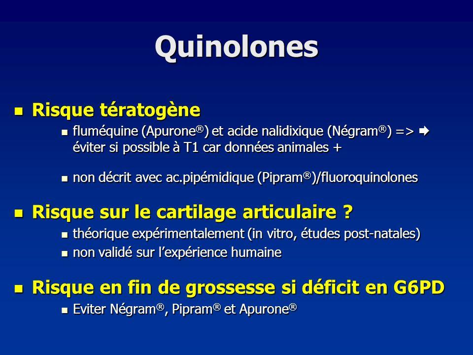 Quinolones Risque tératogène Risque tératogène fluméquine (Apurone ® ) et acide nalidixique (Négram ® ) => éviter si possible à T1 car données animale