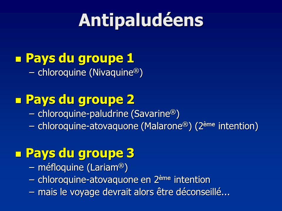 Antipaludéens Pays du groupe 1 Pays du groupe 1 –chloroquine (Nivaquine ® ) Pays du groupe 2 Pays du groupe 2 –chloroquine-paludrine (Savarine ® ) –ch