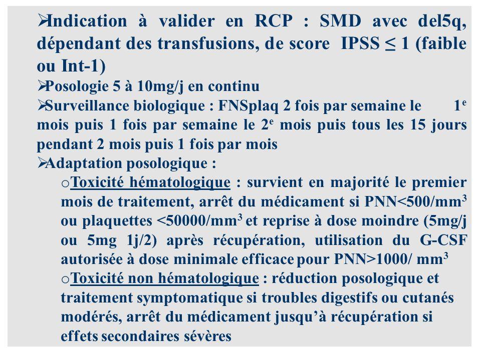 Indication à valider en RCP : SMD avec del5q, dépendant des transfusions, de score IPSS 1 (faible ou Int-1) Posologie 5 à 10mg/j en continu Surveillance biologique : FNSplaq 2 fois par semaine le 1 e mois puis 1 fois par semaine le 2 e mois puis tous les 15 jours pendant 2 mois puis 1 fois par mois Adaptation posologique : o Toxicité hématologique : survient en majorité le premier mois de traitement, arrêt du médicament si PNN 1000/ mm 3 o Toxicité non hématologique : réduction posologique et traitement symptomatique si troubles digestifs ou cutanés modérés, arrêt du médicament jusquà récupération si effets secondaires sévères