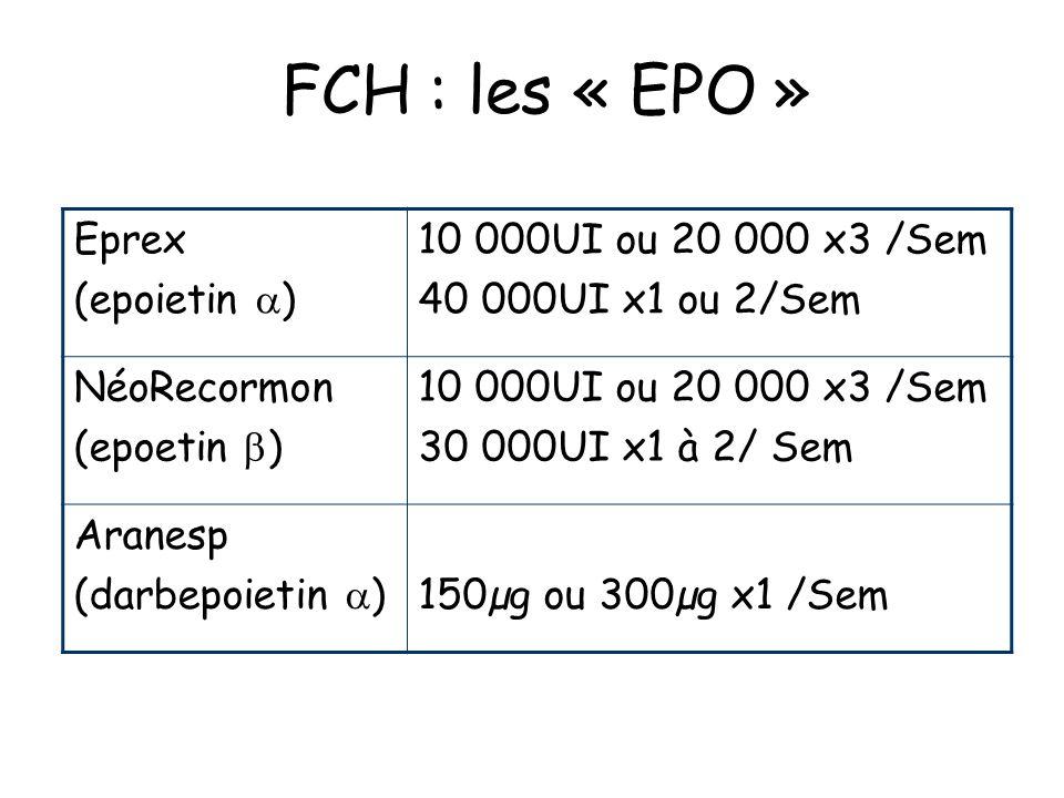FCH : les « EPO » Eprex (epoietin ) 10 000UI ou 20 000 x3 /Sem 40 000UI x1 ou 2/Sem NéoRecormon (epoetin ) 10 000UI ou 20 000 x3 /Sem 30 000UI x1 à 2/ Sem Aranesp (darbepoietin )150µg ou 300µg x1 /Sem