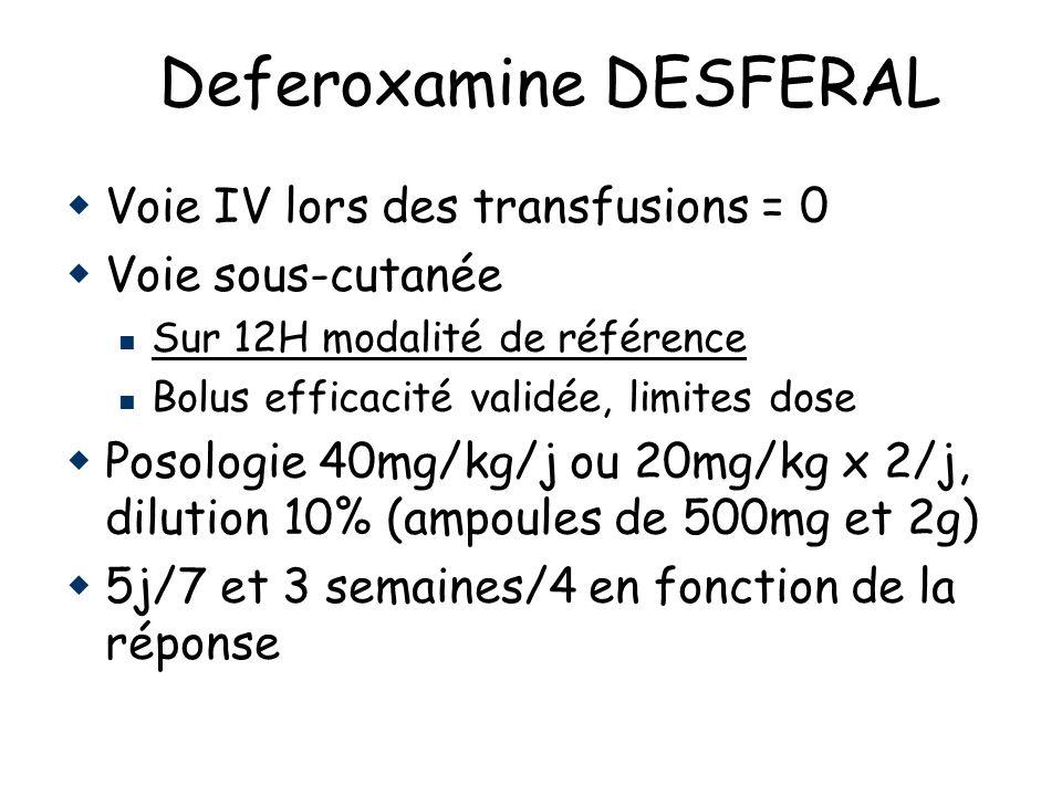 Deferoxamine DESFERAL Voie IV lors des transfusions = 0 Voie sous-cutanée Sur 12H modalité de référence Bolus efficacité validée, limites dose Posologie 40mg/kg/j ou 20mg/kg x 2/j, dilution 10% (ampoules de 500mg et 2g) 5j/7 et 3 semaines/4 en fonction de la réponse