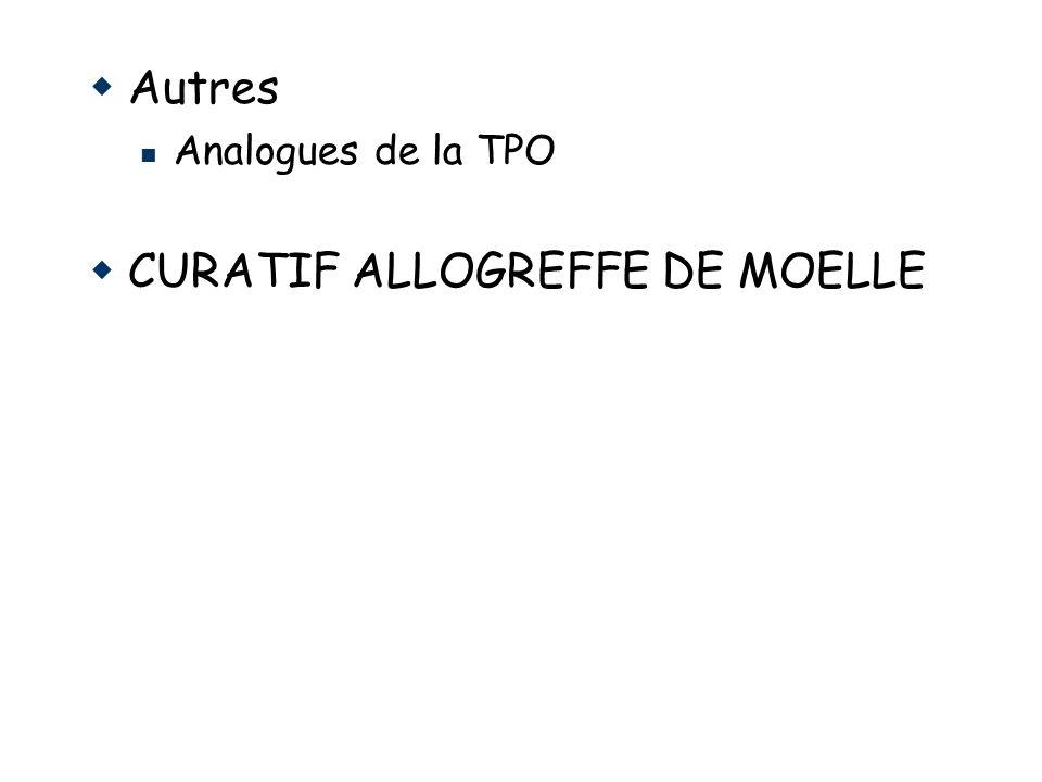 Autres Analogues de la TPO CURATIF ALLOGREFFE DE MOELLE
