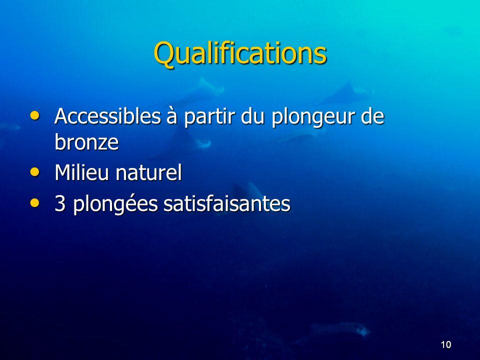 10 Qualifications Accessibles à partir du plongeur de bronze Accessibles à partir du plongeur de bronze Milieu naturel Milieu naturel 3 plongées satis