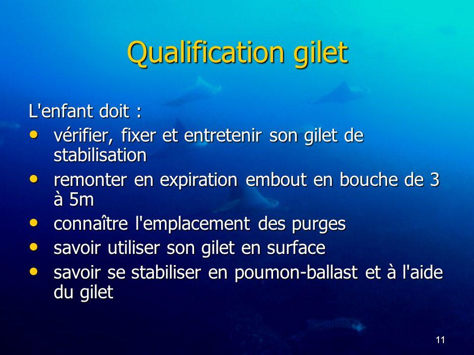 11 Qualification gilet L'enfant doit : vérifier, fixer et entretenir son gilet de stabilisation vérifier, fixer et entretenir son gilet de stabilisati