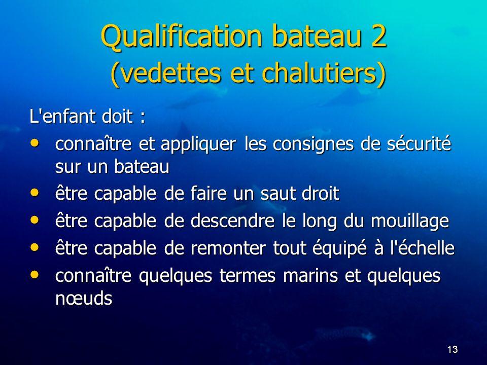 13 Qualification bateau 2 (vedettes et chalutiers) L'enfant doit : connaître et appliquer les consignes de sécurité sur un bateau connaître et appliqu