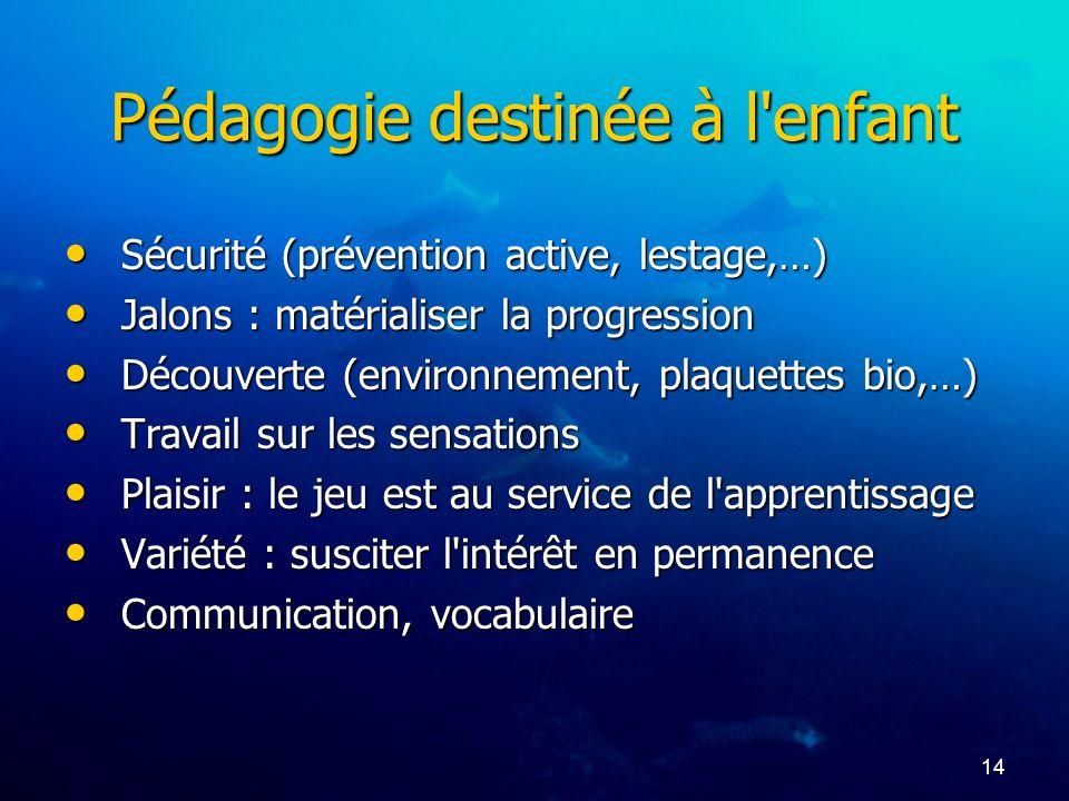 14 Pédagogie destinée à l'enfant Sécurité (prévention active, lestage,…) Sécurité (prévention active, lestage,…) Jalons : matérialiser la progression
