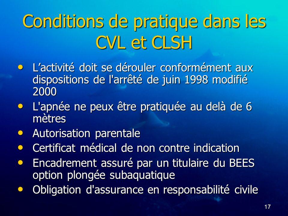 17 Conditions de pratique dans les CVL et CLSH Lactivité doit se dérouler conformément aux dispositions de l'arrêté de juin 1998 modifié 2000 Lactivit