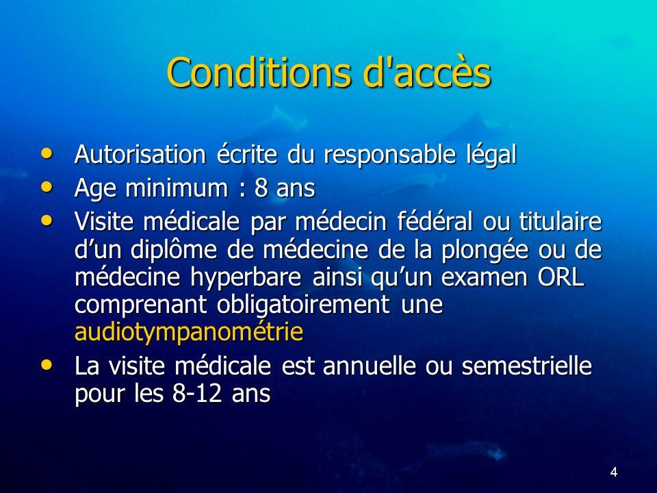 4 Conditions d'accès Autorisation écrite du responsable légal Autorisation écrite du responsable légal Age minimum : 8 ans Age minimum : 8 ans Visite