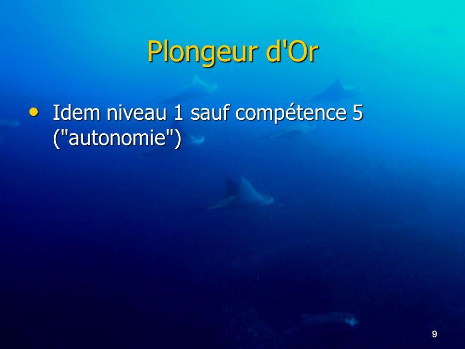 9 Plongeur d'Or Idem niveau 1 sauf compétence 5 (