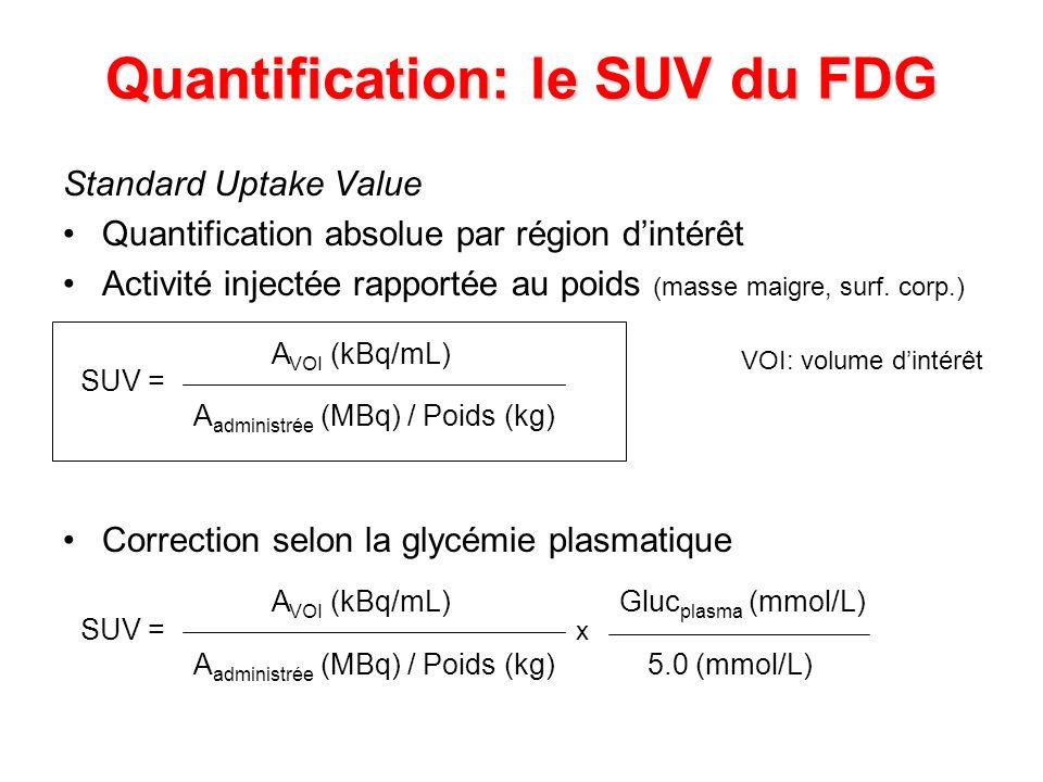 Quantification: le SUV du FDG Standard Uptake Value Quantification absolue par région dintérêt Activité injectée rapportée au poids (masse maigre, sur