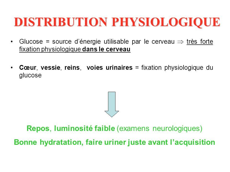 DISTRIBUTION PHYSIOLOGIQUE Glucose = source dénergie utilisable par le cerveau très forte fixation physiologique dans le cerveau Cœur, vessie, reins,