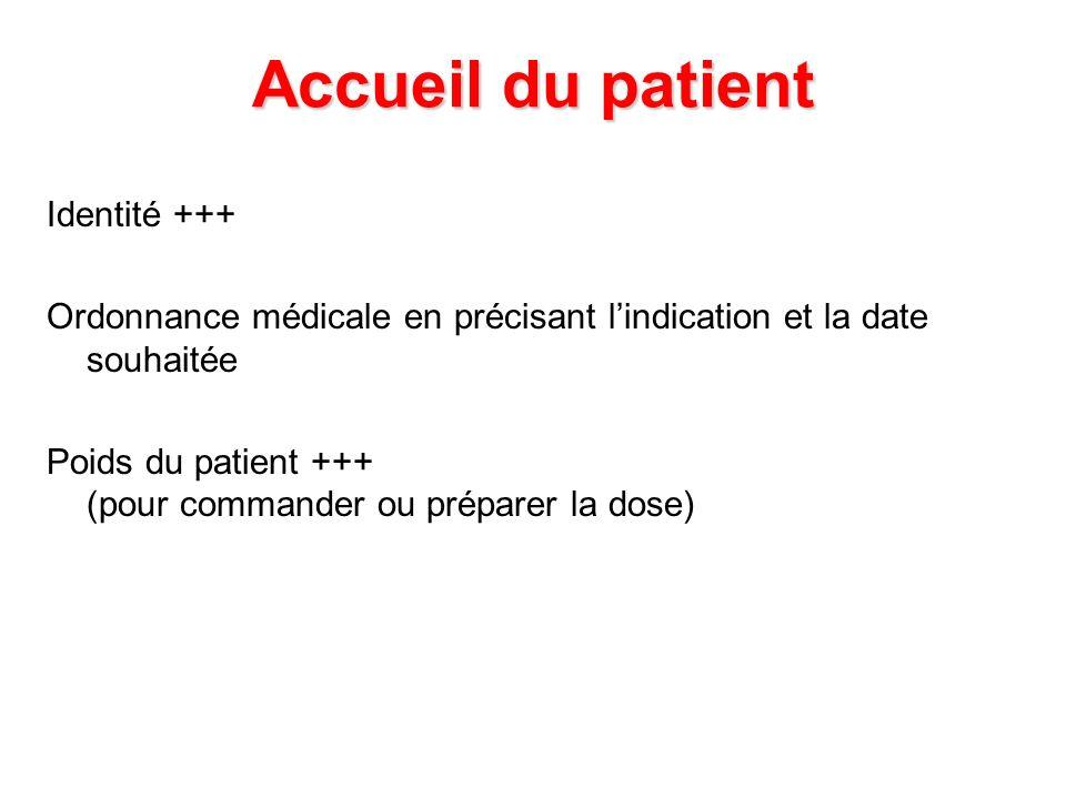 Accueil du patient Identité +++ Ordonnance médicale en précisant lindication et la date souhaitée Poids du patient +++ (pour commander ou préparer la