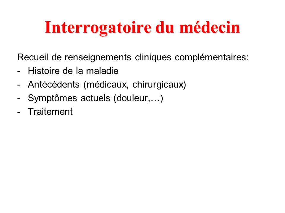Interrogatoire du médecin Recueil de renseignements cliniques complémentaires: -Histoire de la maladie -Antécédents (médicaux, chirurgicaux) -Symptôme