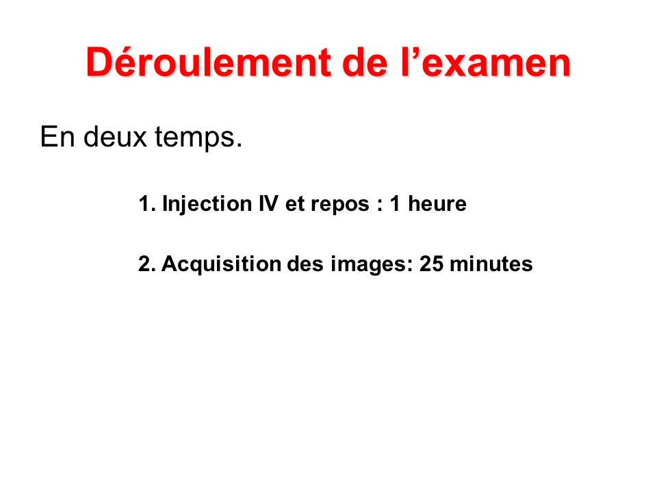En deux temps. 1. Injection IV et repos : 1 heure 2. Acquisition des images: 25 minutes Déroulement de lexamen