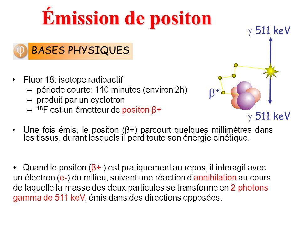 Fluor 18: isotope radioactif –période courte: 110 minutes (environ 2h) –produit par un cyclotron – 18 F est un émetteur de positon β+ Une fois émis, l