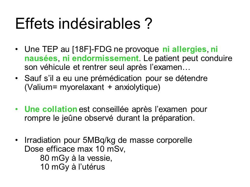 Effets indésirables ? Une TEP au [18F]-FDG ne provoque ni allergies, ni nausées, ni endormissement. Le patient peut conduire son véhicule et rentrer s