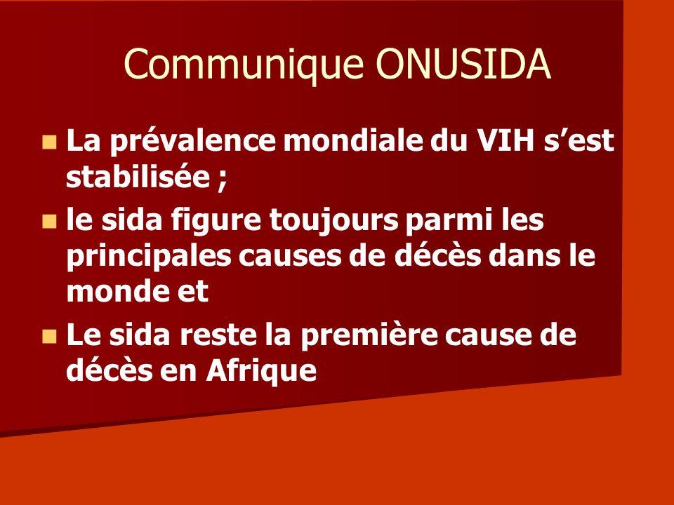 Communique ONUSIDA La prévalence mondiale du VIH sest stabilisée ; le sida figure toujours parmi les principales causes de décès dans le monde et Le s