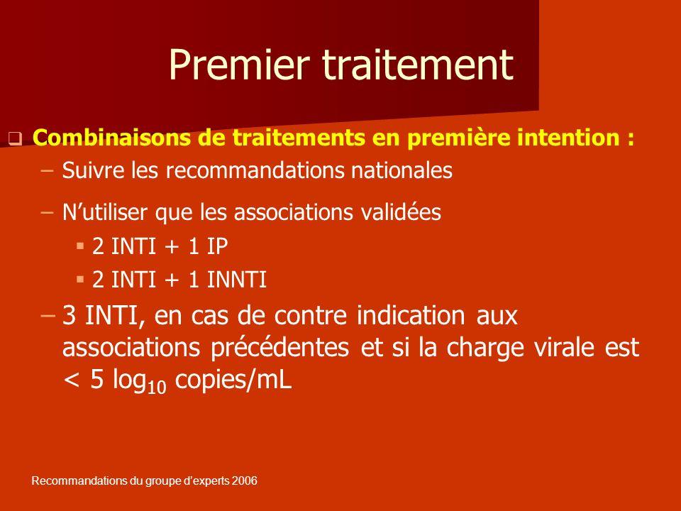 Premier traitement Combinaisons de traitements en première intention : – –Suivre les recommandations nationales – –Nutiliser que les associations vali